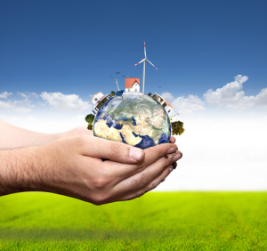 Green world concept with windmill and solar panel